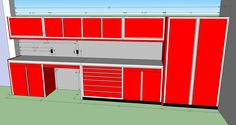 Custom Aluminum Cabinets drawn in 3D to fit your garage