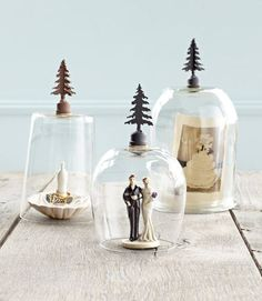 This cute craft should take seconds to make: Turn glassware upside down, affix iron finials, let dry and voila: instant mini cloches. #crafts #diy
