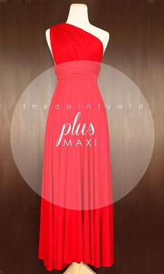 MAXI Plus Size Red Bridesmaid Convertible Dress by thedaintyard