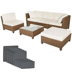 Poly Rattan Aluminium Sofa Sitzgruppe Gartenmöbel Lounge Rattanmöbel Braun