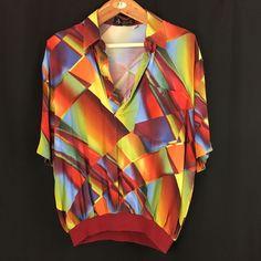 Vtg Alan Stuart Short Sleeve Banded Shirt L Multicolor Hipster Disco Halloween  #AlanStuart #BandedBottomShirt