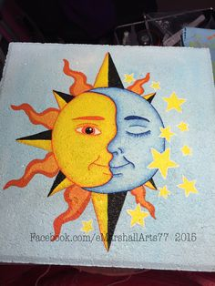 Stepping Stone painted with patio paint.  Decorative painting  moon and sun