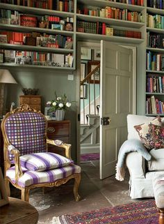 English home - love the purple and white chair
