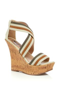 Carrini Cork Wedge Sandal in Beige