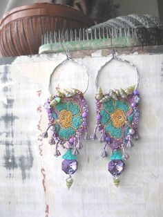 Lavender Aqua Mermaid earrings, Bohemian mermaid, Gypsy sea shells, All Things Pretty
