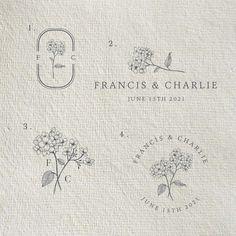 Vintage floral logo design with rustic flower illustration. Wedding Logo Design, Wedding Logos, Coffee Shop Branding, Candle Logo, Marca Personal, Personal Branding, Illustration Art Drawing, Flower Logo, Logo Sticker