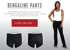 Need stretch and comfort in your uniform? Ask for Bengaline Ladies' pants! Ladies Pants, Pants For Women, Corporate Outfits, Lady, Clothing, Outfit, Clothes, Vestidos, Outfits