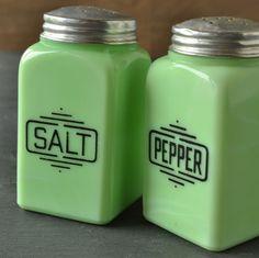 McKee Jadite Jadeite Salt and Pepper Shakers by VintageResolution