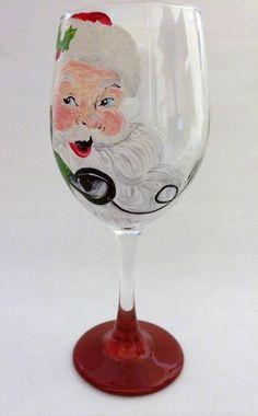 Vintage Santa Wine Glass by thepaintedflower on Etsy