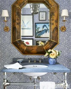 Powder room designed by Summer Thornton. Java Grande wallpaper from China Seas is a bold backdrop for the powder room. The mirror is vintage. Best Bathroom Designs, Bathroom Ideas, Bathroom Inspiration, Bath Ideas, Bathroom Renovations, Bathroom Wallpaper, Bold Wallpaper, Fabric Wallpaper, White Home Decor
