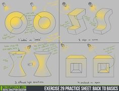 Exercise 29 PracticeSheet by ConceptCookie - 3-D shading and highlights for doodles