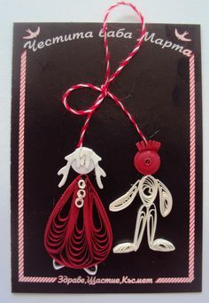 Quilling Seasons: martenitsa Baba Marta, Arts And Crafts, Diy Crafts, Paper Strips, Quilling, Filigree, Red And White, Delicate, Shapes