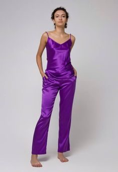The Emergence of Silk Lingerie Satin Trousers, Silk Pants, Ultraviolet Color, Basic Wardrobe Pieces, Purple Satin, Lilac, Satin Pajamas, Queen, Perfect Woman
