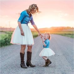 Cowboy boots and tulle skirts... Mommy and Me Ashley Tulle Skirts by Bliss Tulle // Photography: Sarah Ann Photography