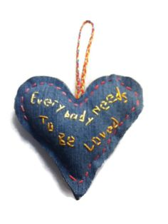 Everybody needs to be loved - #Handstitched #inspirational #heart - Denim , Colorful Thread #teamsellit