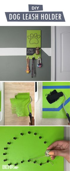Your furry friends can be just as stylish as you are with this DIY dog leash holder from BEHR. To start, paint a piece of wood with the BEHR Paint color of your choice. This tutorial uses a vivid shade of Fresh Apple to create a modern and vibrant look. Then, attach small hooks and a glass jar where you can store everything your dog needs.