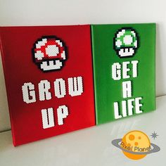 Grow Up/ Get a Life perler beads by pixel_planet_