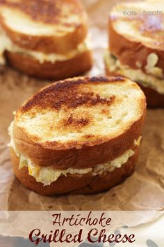 Artichoke Grilled Cheese ~ Delicious Easy Sandwiches Piled High with Cheese and Artichokes! on MyRecipeMagic.com