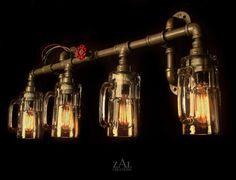 Vanity Light. Plumbing fittings & Beer mugs with vintage style Edison bulbs. Wall light. 3 ft.