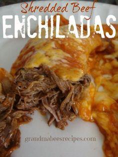 Crockpot Shredded Beef Enchiladas on MyRecipeMagic.com