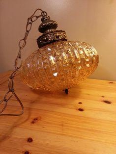 Swag Lamp Amber Glass Brass w Chain // Hanging by HeavensHardware, $225.00