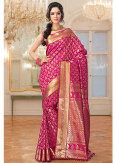 Dark Pink Pure Silk Saree with Blouse Latest Indian Saree, Indian Silk Sarees, Art Silk Sarees, Indian Bridal Outfits, Indian Bridal Wear, Indian Dresses, Wedding Outfits, Wedding Dresses, Indische Sarees