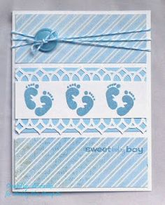 Baby Cards Sweet Feet by – Cards and Paper Crafts at Splitcoaststampers Baby Boy Cards Handmade, New Baby Cards, Baby Scrapbook, Scrapbook Cards, Cool Cards, Kids Cards, Creative Cards, Homemade Cards, Envelopes