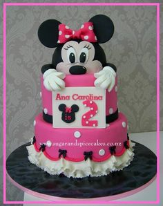 Peeking Minnie Mouse Cake This cake was made for a little girl fighting for her life in Star Ship hospital. This is the cake for Ana Carolina. We were hoping to have a home coming party, but alas the little girl is still in PICU. Minni Mouse Cake, Minnie Mouse Party, Mickey Mouse, Birthday Cake Girls, 21st Birthday, Mini Mouse, Disney Mickey, Girl Nursery, Amazing Cakes