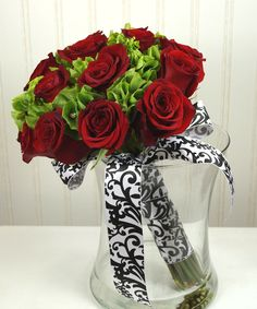 Bells of Ireland and rose briday bouquet.