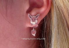 Eevee Pokemon Clinging earrings  Geeky gamer kawaii two part front and back earrings on Etsy, $7.50