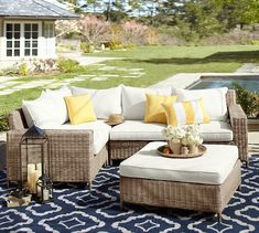 Shop torrey all weather wicker sectional natural from Pottery Barn. Our furniture, home decor and accessories collections feature torrey all weather wicker sectional natural in quality materials and classic styles. Outdoor Wicker Furniture, Wicker Sofa, Patio Furniture Sets, Rustic Furniture, Garden Furniture, Furniture Design, Antique Furniture, Furniture Ideas, Modern Furniture