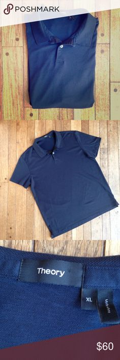 NWOT Theory Pima cotton blend navy blue polo NWOT. The quality sticker is still attached. Navy blue with charcoal gray edge on collar. Two buttons. 60% Pima cotton. 40% polyester. Appears to be a slim fit design. Theory Shirts Polos