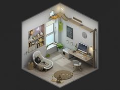 Bento's Home designed by Patt. Connect with them on Dribbble; the global community for designers and creative professionals. Isometric Art, Isometric Design, Design Your Own Bedroom, Relaxing Art, Gaming Room Setup, Game Room Design, 3d Max, House Layouts, Fashion Room