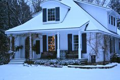 I grew up in a craftsman style house like this one. My dad ordered it from a Sears catalog, It was delivered by train and built by numbered lumber on our lot. Winter Wonderland Christmas, Christmas Porch, Winter Christmas, The Napping House, Winter Things, American Houses, Cabins And Cottages, Cozy Cottage, Craftsman Style
