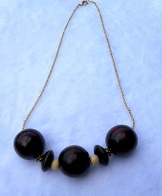 RTS Wood Bead Necklace by ByKeeksWithLove on Etsy