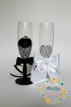 Boda Champagne copas novios  blanco y negro con encanto boda