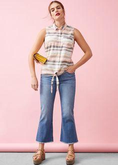 Striped bow blouse - Shirts Plus sizes  f3b5dd80374