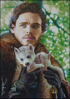 Robb Stark and Greywind by DavidDeb Game of Thrones – sketch card featuring Robb Stark played by Richard Madden 2.5*3.5 inch watercolor pencil blended in marker