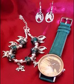 Excited to share the latest addition to my shop: HORSE PONY Watch  Charm Bracelet Green Silver and Silver Horseshoe horsehead earrings on sale EBAY paigeabcde and ETSY AbcdepaHorseJewerly come take a look at my other products  #etsy #jewelry