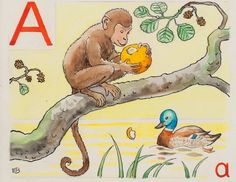 Elsa Beskow - Swedish Alphabet. How many things in the picture begin with letter A?