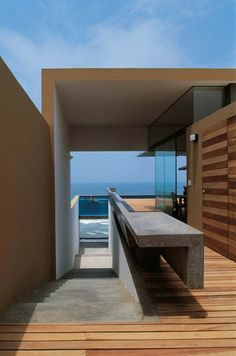 Cool design on this concrete counter / bench - not to mention the sick pool!