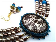 Flower Motif and Blue Agate  Women's Necklace and Earrings Set - By Lady Green Eyes Shop on Etsy