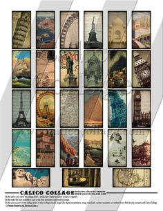 World Travels  Digital Collage Sheet  1x2 Domino by calicocollage, $4.15