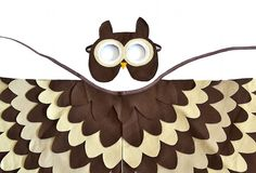 Kids Owl Costume Children Bird Wings and Mask Dress