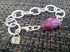 Mystic Pink Druzy bead with one locket charm large fancy link silver plated bracelet