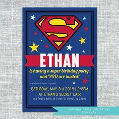 Party Invitation // Superman // Digital File // $11.99