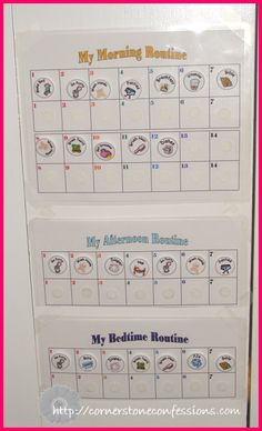 Daily schedule. Make little squares with pics and words. Have 3 columns: time, to do, and done. Have the kids move them. Each have their own??
