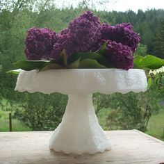 vintage milk glass cake stand~found one just like this at an estate sale