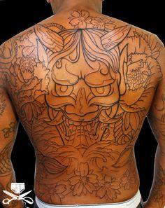 Hannya Mask Outline Tattoo On Back Back Piece Tattoo, Back Tattoo, Hannya Tattoo, Back Pieces, Tribal Tattoos, Sleeve Tattoos, Outline, Ink, Inspiration