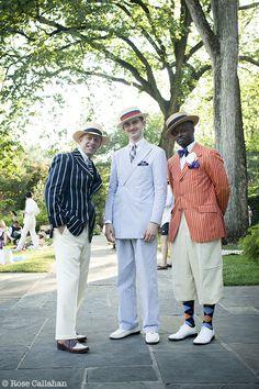 A dapper party-goer, Michael R. Davis, and Dandy Wellington at the Seersucker Social